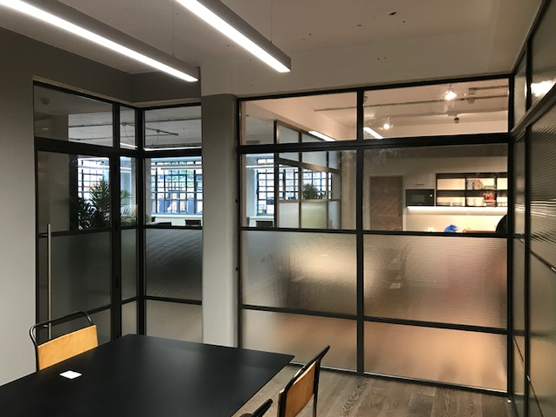 Heritage glass office partitions