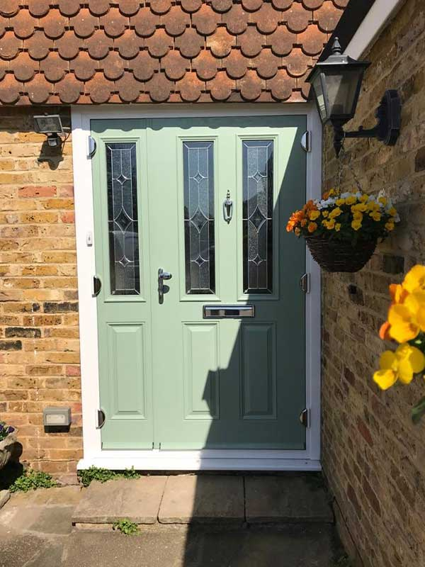 Green composite door with side light