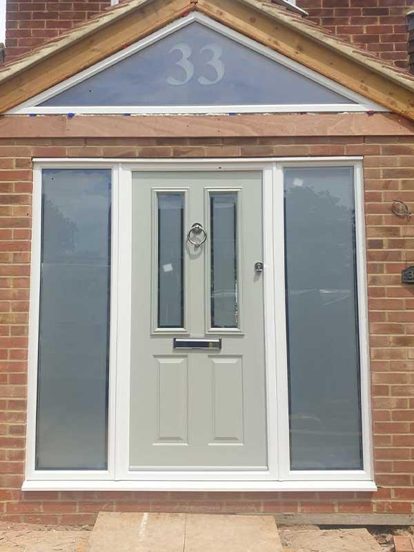 Composite door with side windows