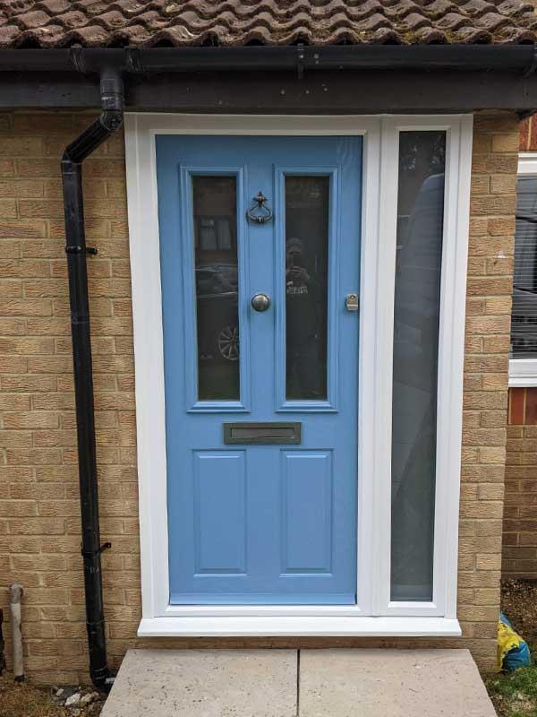 Sky blue composite door
