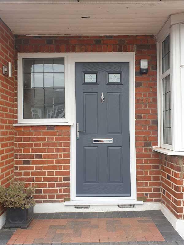 Grey composite door with side window